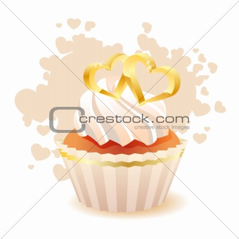 Small valentine sponge cake