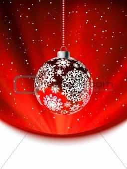Christmas ball on falling flakes template. EPS 8
