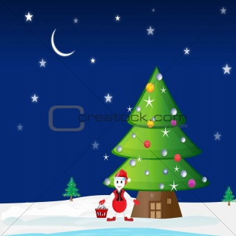 A winter christmas scene with happy snowman