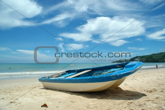 Blue and white Boat