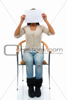 Sitting woman keeps sheet