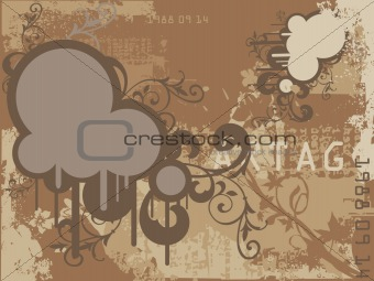 Abstract Grunge Floral Autumn Background