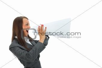 Business woman yells in megaphone