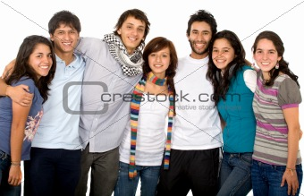 group of happy friends