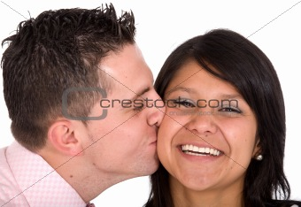 guy kissing his girlfriend
