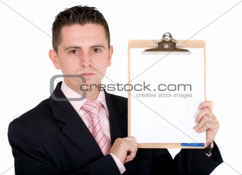 business man holding pad