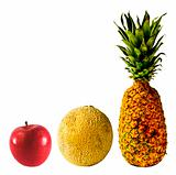 Isolated Pineapple, Cantaloupe and Red Apple