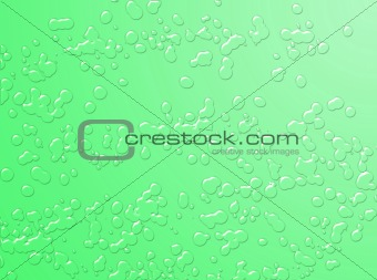 Green water drops