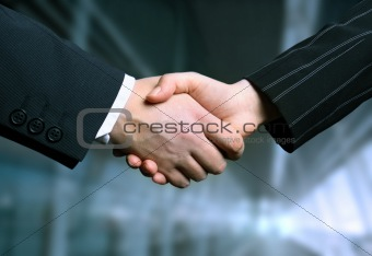 business hand shake and a office in background