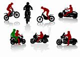 Silhouettes of motorcyclists