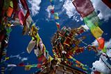 Prayer flags dot the sky