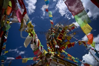 Prayer flags dot the sky