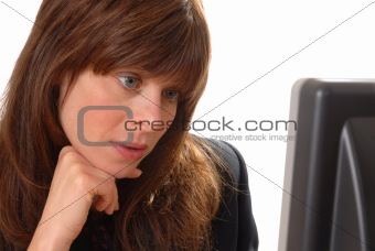 attractive young executive brunette with computer