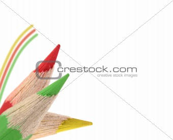 Three colored pencils