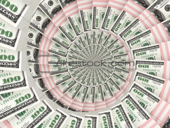Money dollars packs moving by spiral