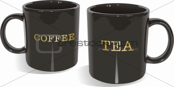 Black glossy tea and coffee mugs