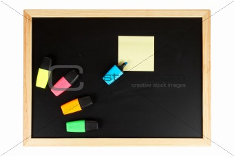 Chalkboard with coloured labellers