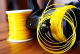Fishing reel with yellow line