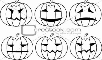 Halloween pumpkins. Set.