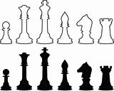 Chessmen, black and white contours. Set.