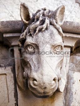 Old horse head sculpture
