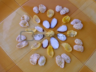 Cereal arranged in a circular flower formation
