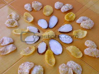 Cereal arranged in a circular flower pattern