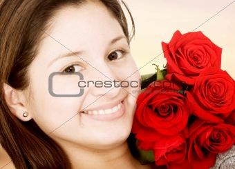beautiful girl with red roses