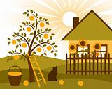 apple tree and cottage
