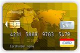 Vector gold credit cards, front view. EPS 8