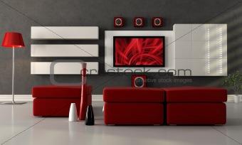 modern lounge with flat screen tv