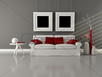 gray white and red minimalist living room