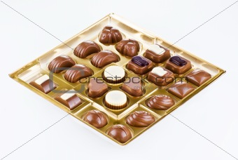 Assorted chocolates in the box