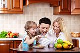 Breakfast of a happy family