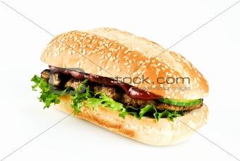 Ribeye steak in sesame seed bun