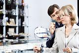 Couple in jeweller shop