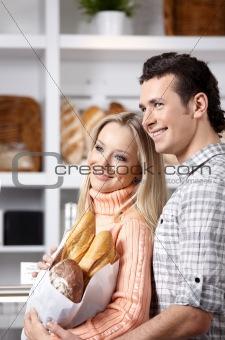 Beautiful couple in market