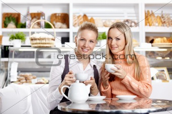 Young girls in cafe