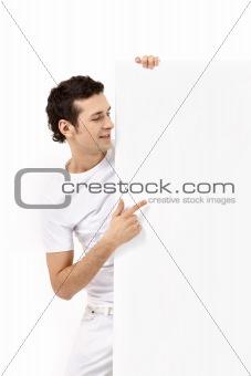 The man specifies in an empty board