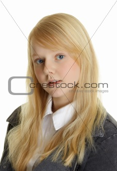 Portrait of beautiful young girl - blonde on white