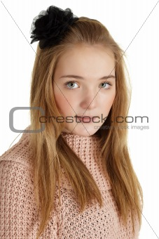 Beautiful young girl with black mourning bow