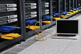 laptop computer at server network room