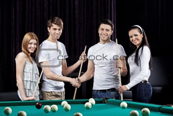 Beautiful party of billiards