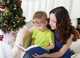Mum reads to the son the book near a christmas fur-tree