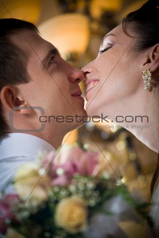 Beautiful young bride kissing groom in indoor setting