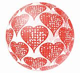 Glass sphere with red ornament of heart