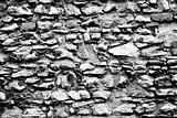 Stone wall abstract black and white texture