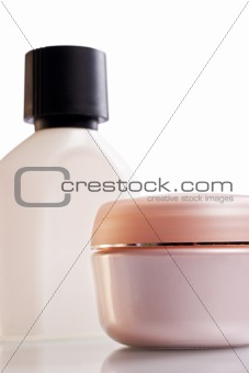 Assorted cosmetics bottles