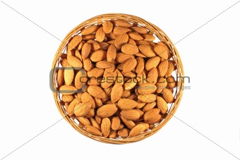 Almonds in a round basket