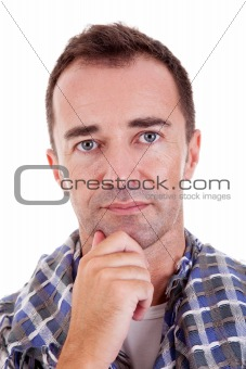 Portrait of a handsome middle-age man, with a hand on the face, on white background. Studio shot
